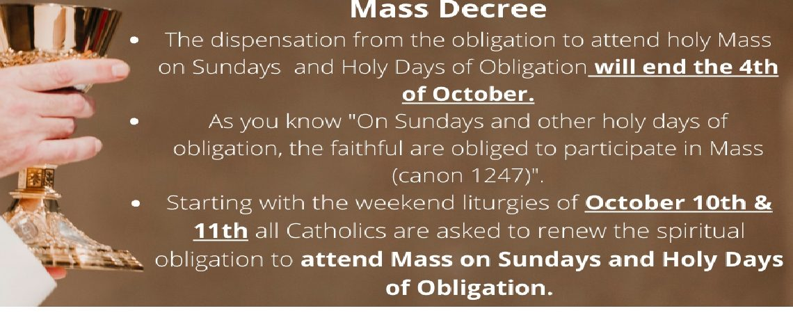 New Bishop Decree Ends Dispensation